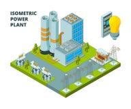 电力工厂 工业电植物或驻地能量大厦导航3d等量图片 向量例证