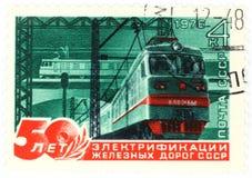 电力机车老俄国邮票 免版税图库摄影