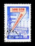 电力生产和展示工业区与植物和塔,大约1958年 图库摄影