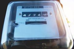 电力米测量的力量用法 瓦特时电m 免版税图库摄影