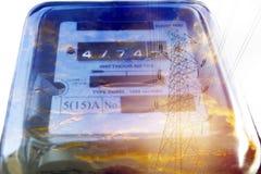 电力米测量的力量用法 瓦特时电m 免版税库存照片