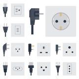 电力输出传染媒介例证能量插口电子出口塞住欧洲装置内部象 库存照片