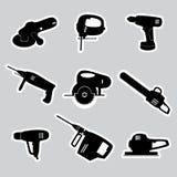 电动工具贴纸设置了eps10 库存图片