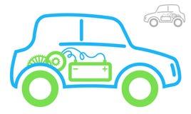 电动车的标志 绿色和蓝色等高 里面马达和电池 现代生态运输 库存图片