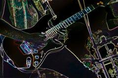 电吉他弹奏者摘要 免版税库存图片