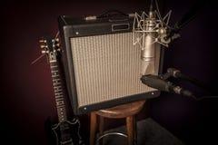 电吉他录音室设定 免版税库存照片