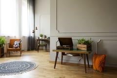 电唱机和植物在桌上在葡萄酒客厅内部与地毯和扶手椅子 实际照片 免版税库存照片
