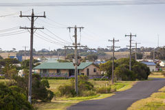 电在小澳大利亚村庄 图库摄影
