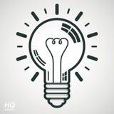 电在白色背景的电灯泡标志 导航头脑狂热概念性象-公司问题解答题材 免版税库存照片