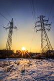 电太阳的极和光芒 库存照片