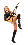 电女孩吉他使用性感 免版税库存照片