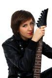 电女孩吉他皮革成套装备岩石 库存图片