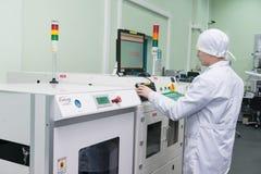 电子元件的生产在高科技的 免版税图库摄影