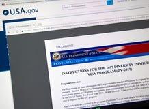 电子变化签证抽奖官员网站 免版税库存照片