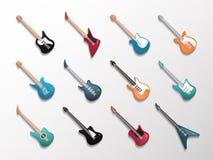 电子和声学吉他象集合 库存例证