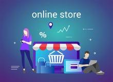 电子商务和E购物平的设计横幅网站和流动网站的 青年人购物的用途电子商务 图库摄影