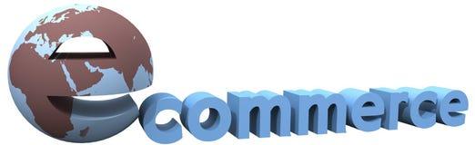 电子商务地球全球互联网世界字 图库摄影