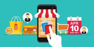 电子商务容易的流动购物网上商店 皇族释放例证