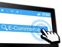 电子商务显示全球资讯网和购买 免版税库存照片