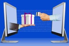电子商务概念,从显示器的两只手 有礼物盒的有信用卡的手和手 3d例证 库存照片