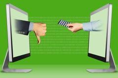 电子商务概念,从显示器的手 拇指下来,反感和手有医学药片的 3d例证 库存照片