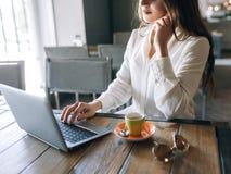 电子商务 在互联网上的女孩购物 免版税库存照片
