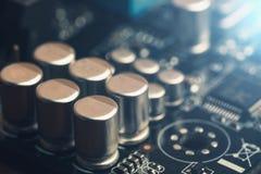 电子工程师芯片,计算机处理器技术 微集成电路计算机cpu硬件,打印的数字式主板组分 图库摄影