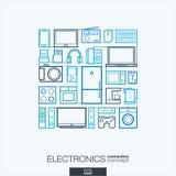 电子抽象背景,联合稀薄的线标志 免版税库存图片