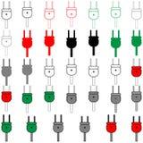 电子插座另外颜色-集合 库存图片
