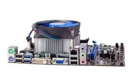 电子收藏-有CPU致冷机的计算机主板 库存图片