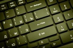 电子收藏-膝上型计算机键盘 在输入的焦点 库存图片