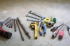 电子改造工程,许多递工具 免版税库存照片