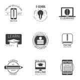 电子教学和网上教育商标集合 网上教训和录影讲解商标设计的传染媒介徽章  免版税库存照片