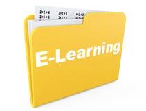 电子教学概念。与纸的黄色文件夹 免版税库存照片