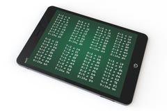 电子教学概念。有乘法表的片剂个人计算机 免版税库存图片