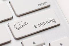 电子教学概念。键盘 免版税库存图片