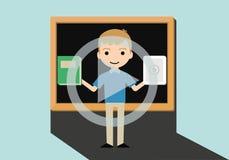 电子教学概念与黑板的传染媒介例证 免版税图库摄影