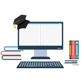 电子教学概念例证 免版税库存照片