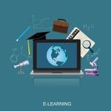 电子教学概念,教育,科学,平的传染媒介例证 免版税库存图片