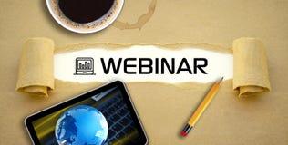 电子教学webinar网上学习的网上课程 库存照片