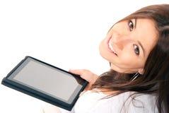 电子暂挂新的片剂接触妇女 免版税图库摄影