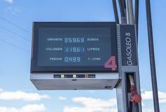 电子气体汽油显示 红色柴油 免版税图库摄影