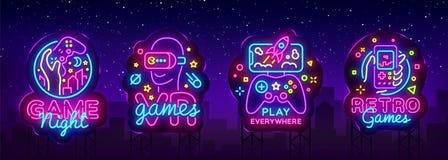 电子游戏商标汇集霓虹灯广告传染媒介设计模板 概念性Vr比赛,在霓虹样式的减速火箭的比赛夜商标 库存例证