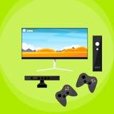 电子游戏控制台垫戏剧控制器平的传染媒介 库存照片