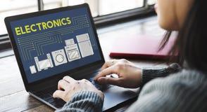 电子电容器当代技术概念 免版税库存照片