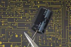 电子电容器 免版税图库摄影