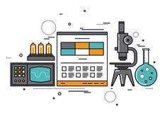 电子科学研究线型例证 免版税库存照片