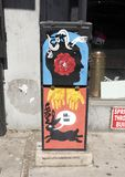 电子箱子艺术HaHaxParadigm,南大街,费城 库存图片