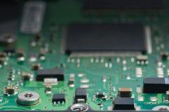 电子线路板特写镜头与处理器的 库存照片