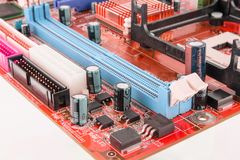 电子线路董事会特写镜头与处理器的 库存照片